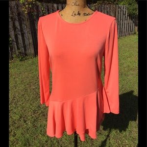 Coral long sleeve blouse